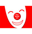 red nose day greeting card with white joker mask vector image vector image