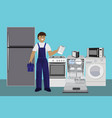 repairman master repairing dishwasher with vector image vector image