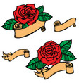 set of old school tattoo style roses with ribbons vector image vector image