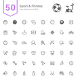 Sport and Fitness Line Icon Set vector image