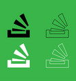 stacking in the tray icon black and white color vector image vector image