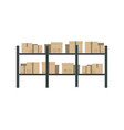 storage stand with delivery boxes in flat design vector image vector image