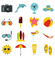 summer rest set flat icons vector image vector image