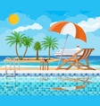swimming pool and lounger island vector image vector image