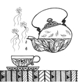 teapot and cup with steam standing on table vector image vector image