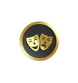 theatrical masks emblem on black shield realistic vector image
