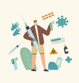 tiny male character holding huge syringe vector image vector image