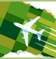 top view airplane in clouds vector image vector image