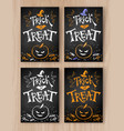 trick or treat halloween postcards vector image vector image
