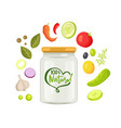 vegetables and jar natural products food vector image vector image