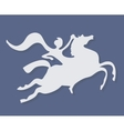 white silhouette of fantasy horse rider on purple vector image vector image