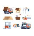 wooden industry lumber axe sawmill timber vector image