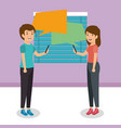 young couple talking in the workplace vector image vector image
