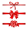 Red gift bows collection with ribbons vector image