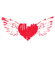 abstract heart and wings with splashes of blood vector image vector image
