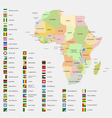 Africa flags and map vector image vector image