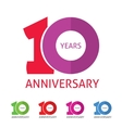 anniversary 10th logo template with shadow vector image vector image