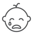 baby boy cry line icon emotion and child vector image vector image