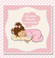 baby girl shower card with little girl vector image vector image
