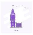 big ben landmark purple dotted line skyline vector image
