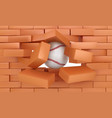 brick wall destroying with baseball ball sports vector image vector image