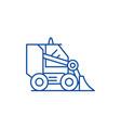 bulldozer line icon concept flat vector image vector image