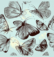 butterfly seamless pattern with engraved insects vector image