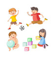 children little boys girls playing toy games vector image vector image