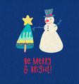 christmas card snowman and xmas tree tee print vector image