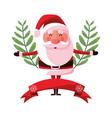 christmas santa claus branches ribbon vector image vector image