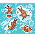 Christmas sticker set Reindeer Santa vector image