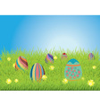Colored Eggs on a Grass Field vector image