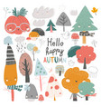 colorful autumn trees cartoon yellow orange vector image vector image