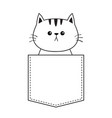 cute cat in the pocket doodle contour linear vector image vector image