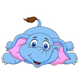 Cute elephant cartoon lying on the floor vector image vector image
