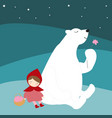 cute red hood girl and teddy bear in the night vector image vector image