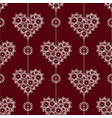 delicate sweet lace heart on a red background vector image vector image