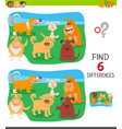 differences game with funny cartoon dogs vector image vector image