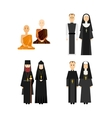 Different religion monk set vector image vector image
