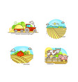 farming logo collection in line design farm vector image