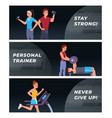 fitness and sports website landing page flat set vector image vector image