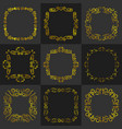 golden vintage frame decoration set vector image vector image