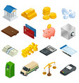 isometric business and finance icons flat 3d vector image vector image
