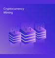 isometric crypto mining cryptocurrency mining vector image
