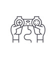 joystick control line icon concept joystick vector image vector image