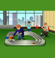 kids playing toy cars racing vector image vector image