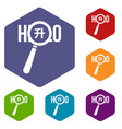 magnifying glass over hello word icons set vector image