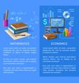 mathematics and economics subjects info poster vector image