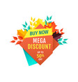 mega discount half price off emblem with leaves vector image vector image