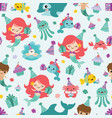 Mermaid birthday sea friends seamless